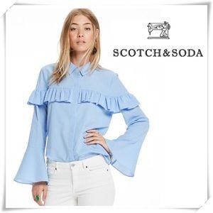 Scotch & Soda Cotton Shirt with Ruffled Panel